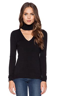 525 america Mock Neck V Front Sweater in Black