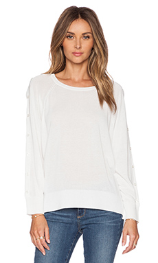 525 america Button Sleeve Pullover in Bleach White