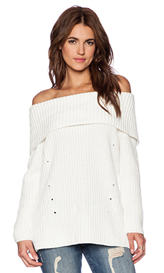 525 america Heritage Off the Shoulder Sweater in White Cap