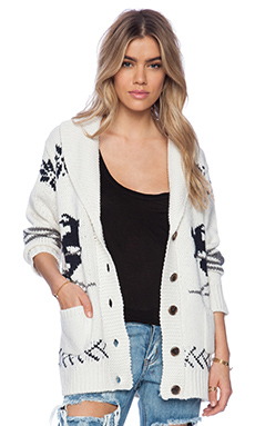 525 america Skiers Bf Cardigan in White Cap