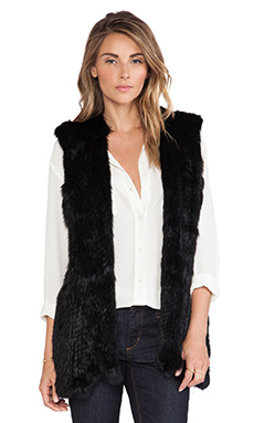 525 america Hoodie Rabbit Fur Vest in Black