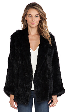 525 america Open Rabbit Fur Jacket in Black