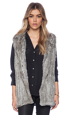 525 america Rabbit Fur Hooded Vest in Natural Grey