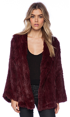 525 america Open Rabbit Fur Full Sleeve Jacket in Oxblood