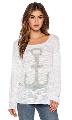 525 america Anchor Boatneck Top in Bleach White Combo