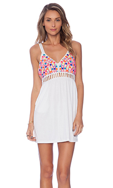 6 SHORE ROAD Boddha's Beaded Eye Mini Dress in Moonlight