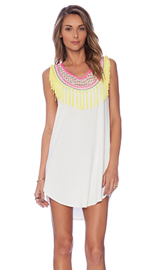 6 SHORE ROAD AM to PM Embroidered Fringe Dress In Moonlight