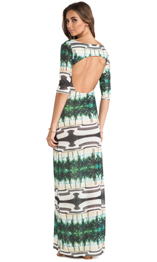 AGUADECOCO Printed Long Sleeve Maxi Dress in Copacabana
