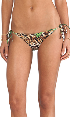AGUADECOCO String Bikini Bottom in Leopard