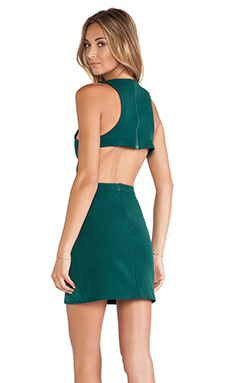 Assali Rake Mini Dress in Gem Green