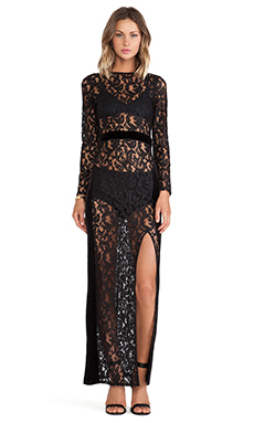 Assali Loggia Dress with Black Velour in Metallic Black Lace