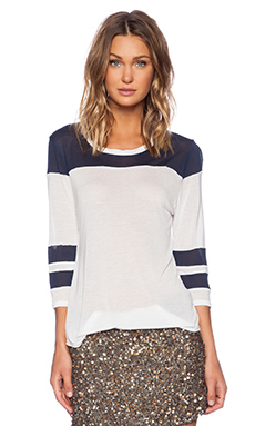 YFB Clothing Long Sleeve Tee in White & Navy