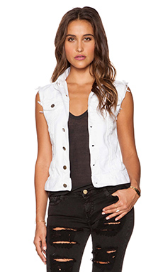 Acquaverde Loris Denim Vest in Destroy White
