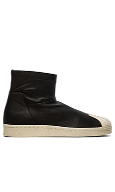 adidas by Rick Owens Superstar Ankle Boot in Black Black Light Bone