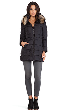 ADD Down Jacket with Fur Collar in Black
