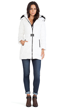 ADD Down Parka with Fur Border in White