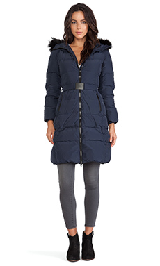 ADD Down Coat with Fur Hood in Patriot Blue
