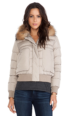 ADD Down Jacket with Fur Collar in Elegant Taupe