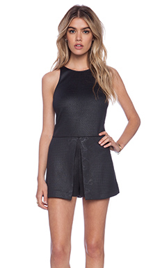 ADDISON Tammy Peplum Skort Romper in Black