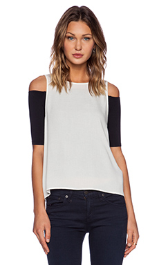 ADDISON Fera Off Shoulder Top in Milk & Black