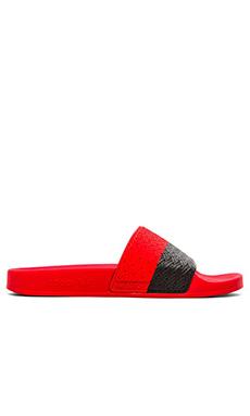adidas by Raf Simons Two Tone Adilette in Bold Orange Core Black