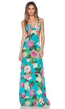 ADRIANA DEGREAS Bouquet Print Maxi Dress in Turquoise Blue