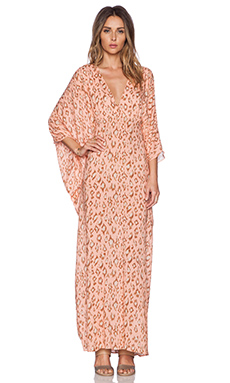 ADRIANA DEGREAS Brush Leopard Caftan in Blush