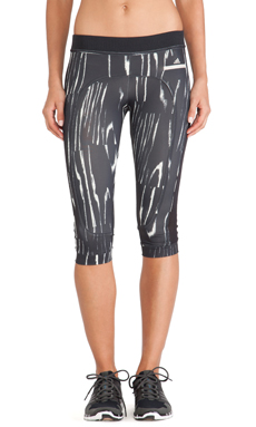 adidas by Stella McCartney 3/4 Running Tights in Black & Frost