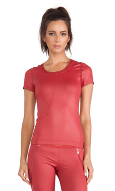 adidas by Stella McCartney Perforated Running Tee in Deep Red