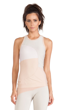 adidas by Stella McCartney Studio Perforated Tank in White & Shell Beige & Rose Tan