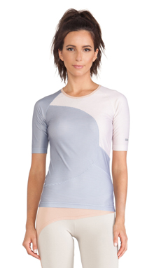 adidas by Stella McCartney Studio Perforated Tee in Platinum Mauve & Glacial & Rose Tan