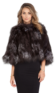 Adrienne Landau Knit Silver Fox Fur Poncho in Natural