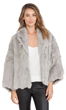Adrienne Landau Textured Rex Little Swing Rabbit Fur Jacket in Light Grey