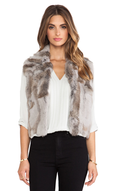 Adrienne Landau Textured Rabbit Fur Vest in Light Grey