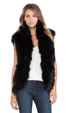 Adrienne Landau Fox Fur Vest in Black