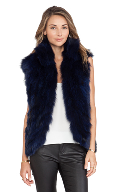 Adrienne Landau Fox Fur Vest in Navy