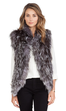 Adrienne Landau Knit Silver Fox Fur Vest in Natural