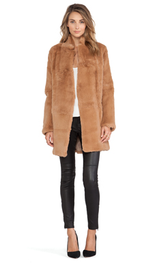 Adrienne Landau Rabbit Fur Peacoat in Luggage