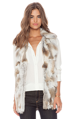 Adrienne Landau Rabbit Fur Vest in Natural Brown