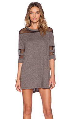 A Fine Line League Dress in Heather Grey & Black Mesh
