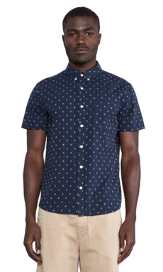 AG Adriano Goldschmied Aviator Shirt in Double Indigo Signal