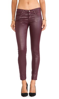 AG Adriano Goldschmied The Legging Ankle in Leatherette Crimson Maple