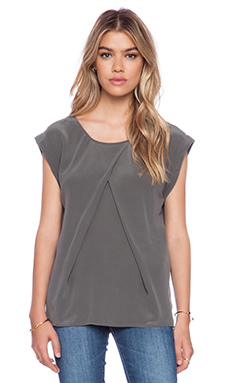 AG Adriano Goldschmied Rowan Pleat Top in Summit Grey