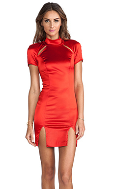 AGAIN Springstien Cutout Double Slit Dress in 3D Red