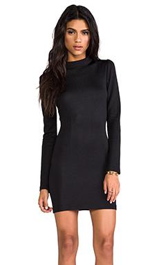 AGAIN Langston Long Collar Dress in Slick Black