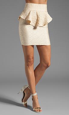 AGAIN Barbizon Embossed Highwaist Peplum Mini Skirt in Cream