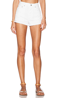A Gold E Anja High Rise Short in San Remo Distressed
