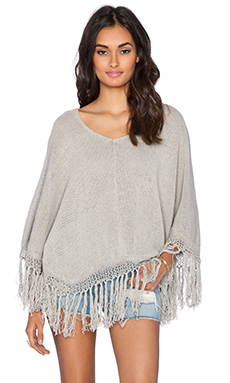 Aila Blue Byron Bay Fringe Poncho in Cloud