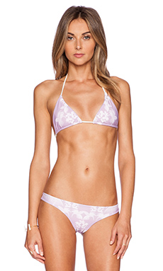 Aila Blue Salty As The Sea Triangle Bikini Top in Orchid Jungle