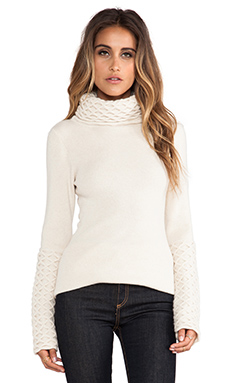 Alice by Temperley Honeycomb Turtleneck Tunic in Ivory